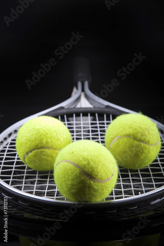 Plakát  A set of tennis. Racket and ball.