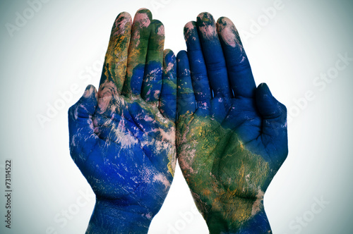 Foto op Canvas Wereldkaart the world in your hands (Earth map furnished by NASA)