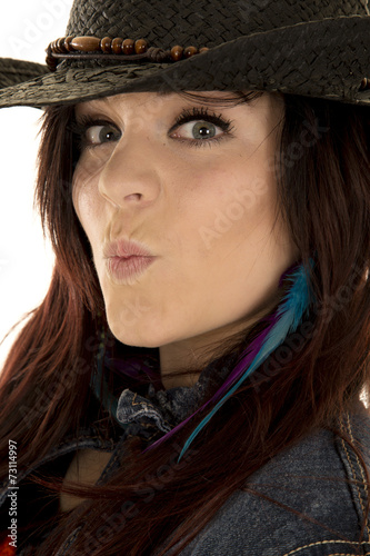 cowgirl black hat head side kiss face - Buy this stock photo