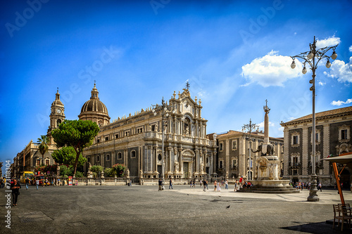 Stampa su Tela Catania Cathedral and City Square on Sunny Day