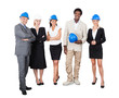 Multiethnic Architects With Hardhats Against White Background