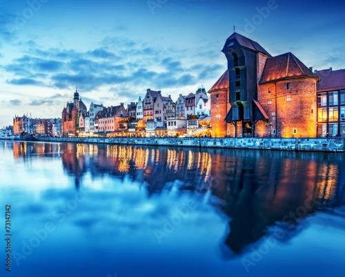 fototapeta na drzwi i meble Gdańsk, Polska Stare Miasto, Motławy. Słynny Żuraw Żuraw