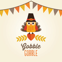 Happy Thanksgiving Card With Owl In Turkey Costume And Pilgrim H