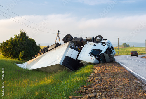 Hard truck crash at the freeway  - Buy this stock photo and