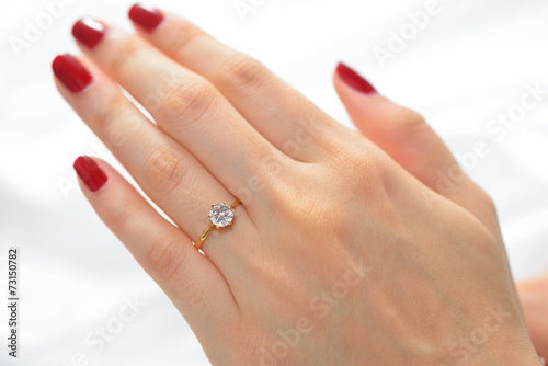 Wedding Ring On Hand Of Bride On White Cloth Buy This Stock Photo