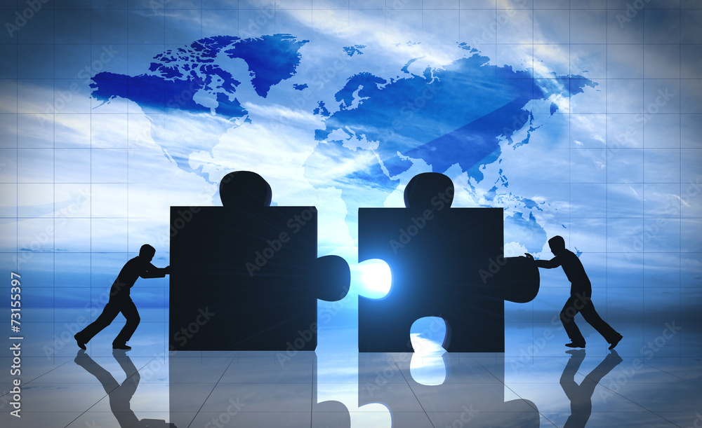 Fototapety, obrazy: World Business teamwork puzzle pieces