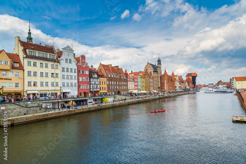 obraz dibond Cityscape on the Vistula River in Gdansk, Poland.