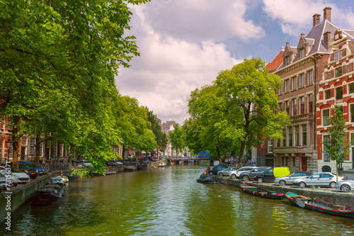 Poster Amsterdam City view of Amsterdam canal and typical houses, Holland, Nether