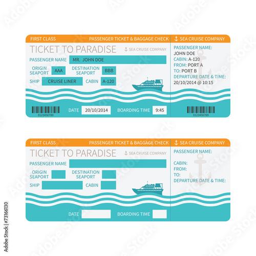Fotografía  Sea cruise ship boarding pass or ticket template