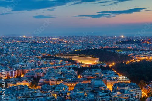 Athens with the old olympic stadium at dawn