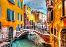Very Beautiful Old Bridge At Venice Italy. HDR Processed