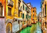 Piękny widok na kanał w Wenecji we Włoszech. Przetwarzanie HDR - 73171987
