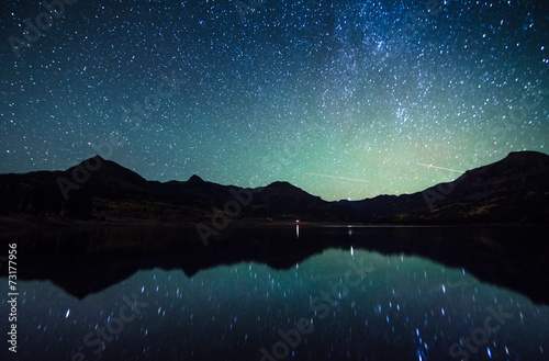 Printed kitchen splashbacks Mountains milky way reflection at William's lake,colorado