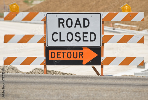 Fotografie, Obraz  Road Closed Barrier