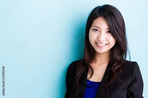 Fotografía  asian businesswoman on blue background