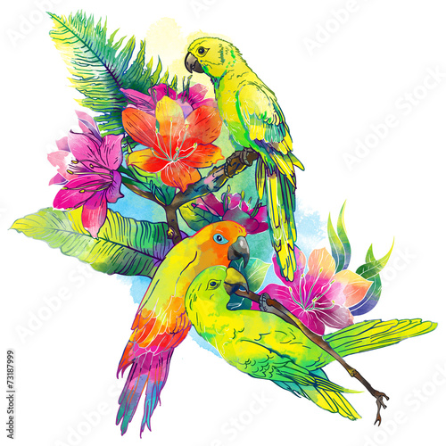 Poster Oiseaux, Abeilles yellow parrots and exotic flowers