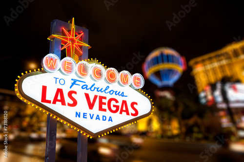 Las vegas sign and strip street background Canvas Print