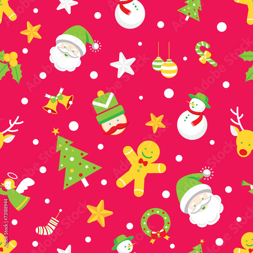 Cotton fabric Seamless Pattern : Christmas Objects