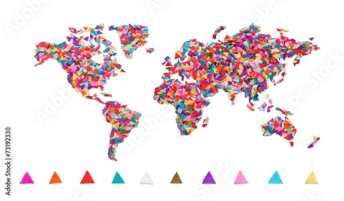 In de dag Wereldkaart World map made of confetti / with clipping path