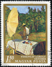 Stamp Printed In Hungary, Shows Picture October By Ferenczy