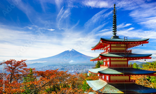 Photo Stands Japan Mt. Fuji with Chureito Pagoda, Fujiyoshida, Japan