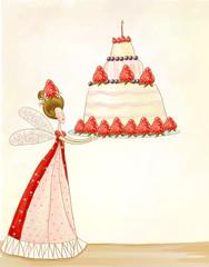 Fairy with birthday cake.Birthday cake