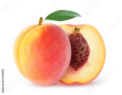 Foto op Aluminium Vruchten Fresh peach isolated on white