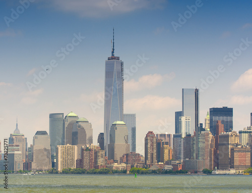 Amazing view of Lower Manhattan skyline from Hudson river - New Poster