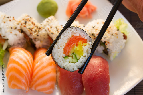 Tuinposter Sushi bar lunch with sushi dish