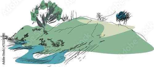 Photo Stands Olive Sketch of landscape