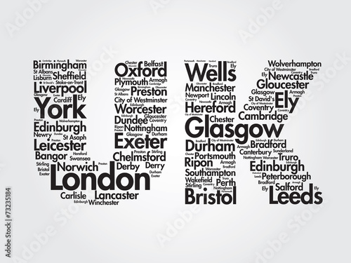 United Kingdom words cloud, cities, travel, agency logotype #73235184