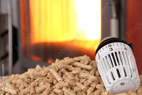 In de dag Vuur brennender Kaminofen