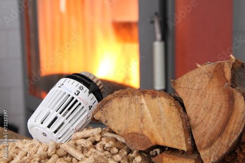 In de dag Vuur Ofen mit Heizungsthermostat