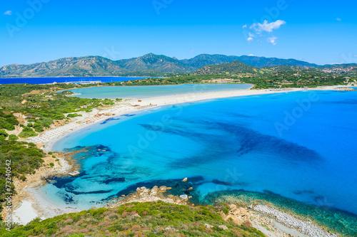 Vászonkép  View of Villasimius lagoon beach and blue sea, Sardinia island