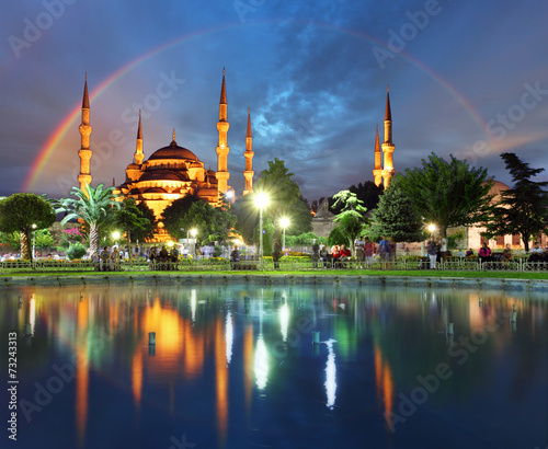Photo  Istanbul with rainbow - Blue mosque, Turkey