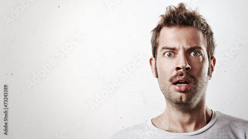 Fotografija  Portrait of a surprised man with mustache