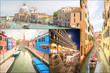 Collage of landmarks in Venice