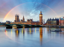 London With Rainbow - Houses Of Parliament - Big Ben.