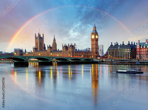 Poster Londres London with rainbow - Houses of parliament - Big ben.