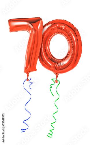 Photographie  Rote Luftballons mit Geschenkband - Nummer 70