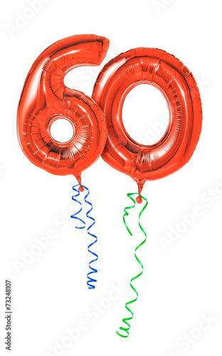 Photographie  Rote Luftballons mit Geschenkband - Nummer 60