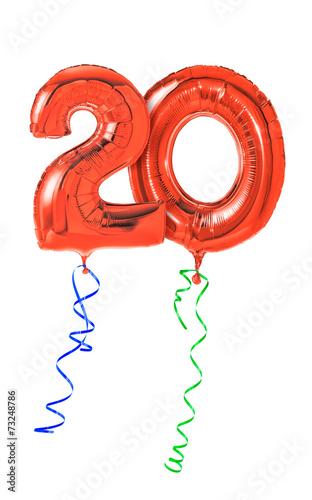 Fotografia  Rote Luftballons mit Geschenkband - Nummer 20