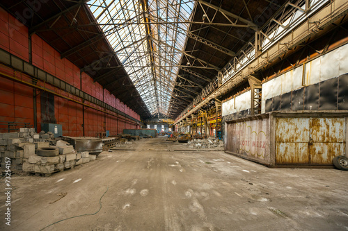 Canvas Prints Narrow alley Electricity distribution hall in metal industry