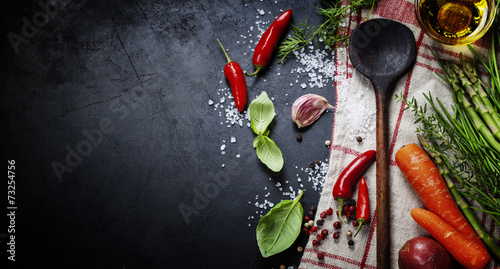 Foto op Plexiglas Eten Wooden spoon and ingredients