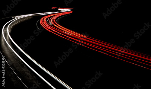 Photo sur Toile Autoroute nuit Night traffic