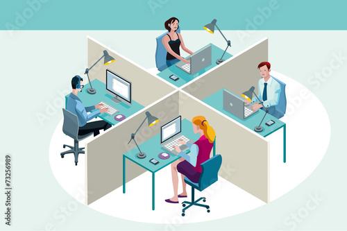 Fototapeta Office Workers Sitting at Their Desks obraz na płótnie