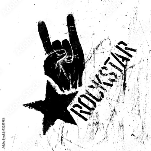 Valokuva  Rockstar symbol with sign of the horns gesture. Vector template
