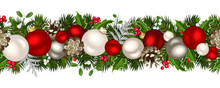 Christmas Horizontal Seamless Background. Vector Illustration.