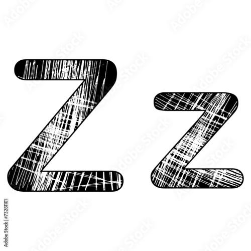 grunge scratch letter Z alphabet symbol design on white
