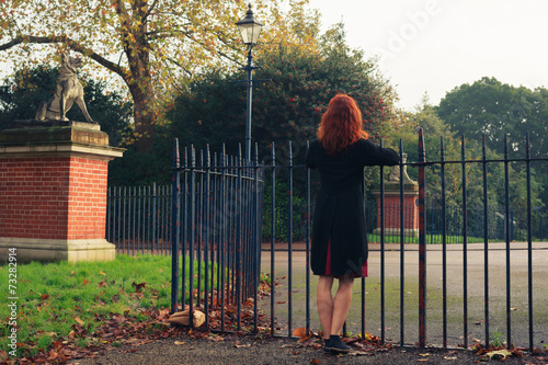 Fotografie, Obraz  Woman leaning on gate in park